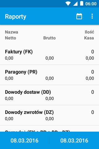 eSale Android  - Raporty